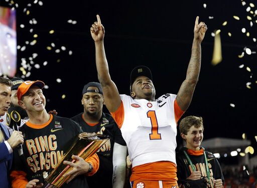 FILE - In this Jan. 7, 2019, file photo, Clemson's Trayvon Mullen celebrates after the NCAA college football playoff championship game against Alabama, in Santa Clara, Calif. For the first time, the defending national champion Tigers are No. 1 in The Associated Press preseason Top 25 presented by Regions Bank, Monday, Aug. 19, 2019.