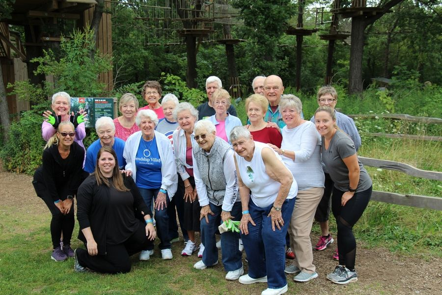 Pictured are the residents of Friendship Village senior living community in Schaumburg who participated in the Go Ape Treetop Adventures in Western Springs.