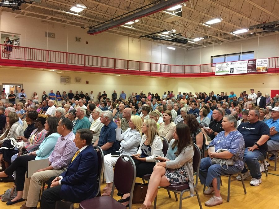More than 350 people attended an informational meeting last week about Haymarket Center's proposal to convert an Itasca hotel into a drug and alcohol treatment center.