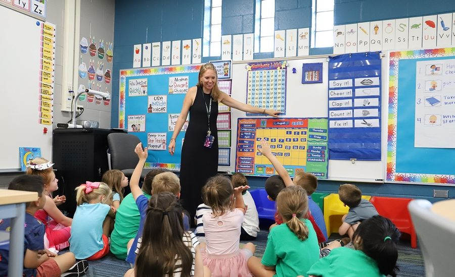Kindergarten teacher Tracy Goldman talks to her class on the first day of school on August 22, 2019.Fremont School District 79