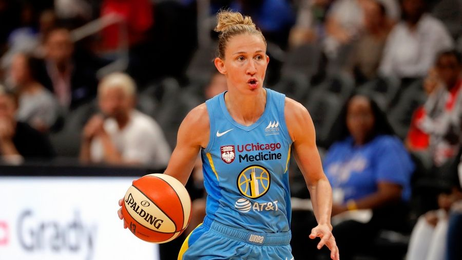 Chicago Sky guard Courtney Vandersloot works against the Dream on Aug. 20 in Atlanta. Averaging just 11 points per game, Vandersloot would make an odd MVP candidate -- except for her remarkable 9.1 assists per game.