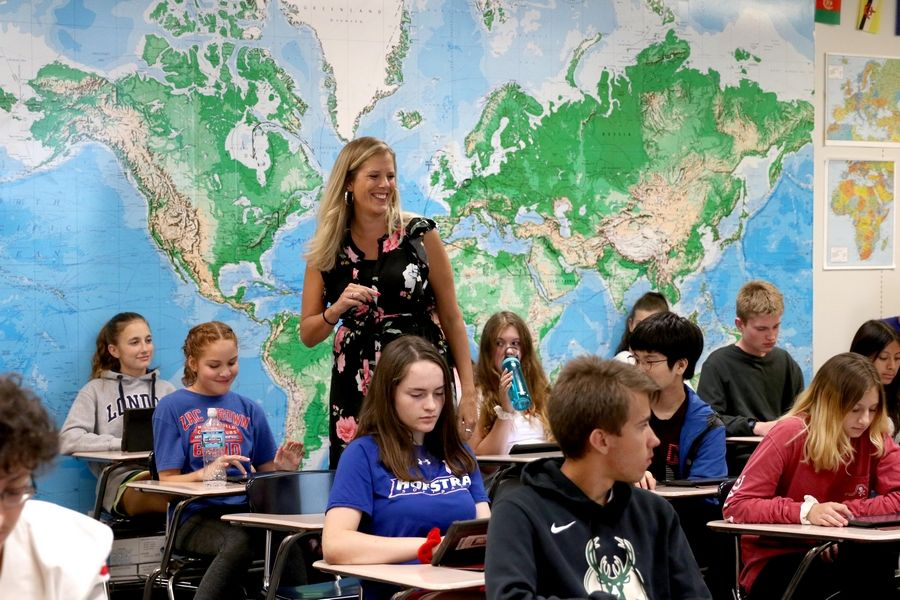 History teacher Leslie Schock teaches a lesson in her Advanced Placement history class at Palatine High School Friday. Schock has been teaching LGBTQ history as part of the AP curriculum for several years ahead of a new state law mandating it for all Illinois public schools.