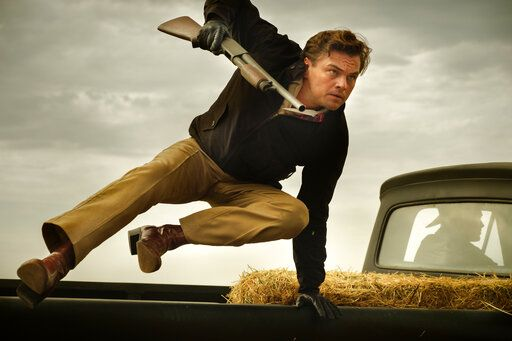 "This image released by Sony Pictures shows Leonardo DiCaprio in Quentin Tarantino's ""Once Upon a Time ... in Hollywood.""  (Andrew Cooper/Sony-Columbia Pictures via AP)"