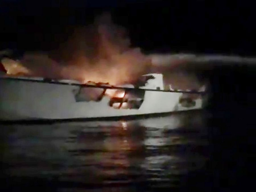 "This image made from video released by TowBoatUS Ventura shows a burning out charter dive boat ""Conception,"" before it sank off Santa Cruz Island, near the coast of Ventura County, Calif., early Monday, Sept. 2, 2019."