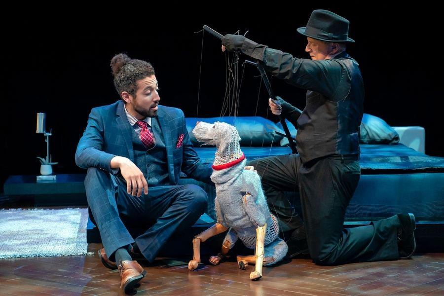"Marriott Theatre's production of Daniel Zaitchik's ""Darling Grenadine"" -- featuring Heath Saunders, left, and his canine pal Paul, created and controlled by Phillip Huber -- earned equity Joseph Jefferson Award nominations for new musical and for Huber's puppet design."