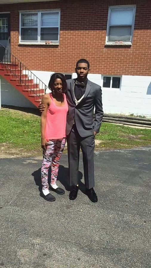 Decynthia Clements is pictured here in 2016 with her son Tyri Clements as he headed to prom. She was shot and killed by Elgin police Lt. Christian Jensen on March 12, 2018, after she got out of a car holding two knives.