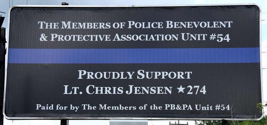 The Elgin police union put up a billboard earlier this year in support of Lt. Christian Jensen.