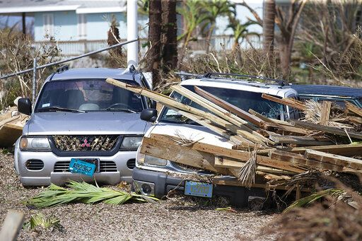Destruction from Hurricane Dorian at Marsh Harbour in Great Abaco Island, Bahamas on Wednesday, Sept. 4, 2019. (Al Diaz/Miami Herald via AP)