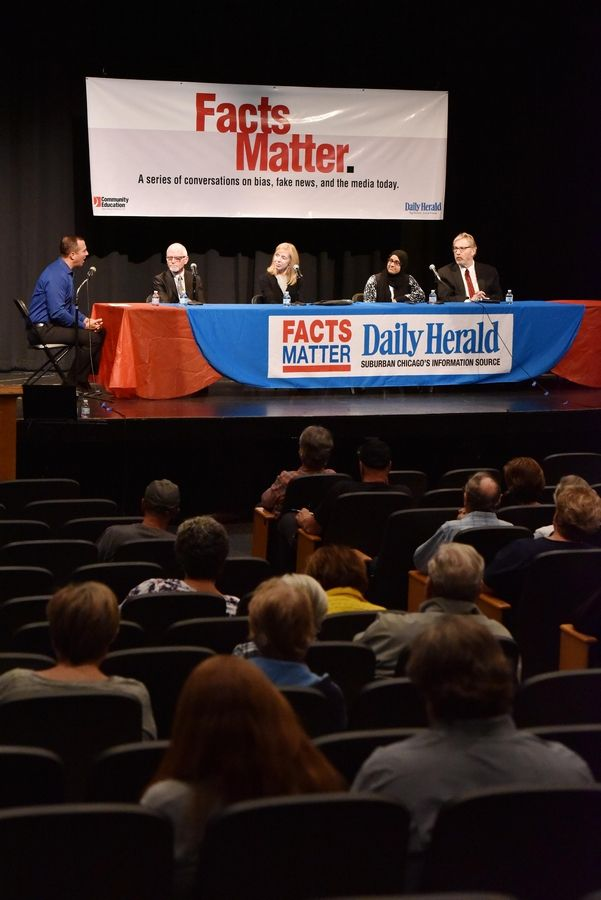 A panel of Daily Herald editors discuss newspaper issues in a 2018 Facts Matter presentation in Arlington Heights.  A new season of the program series resumes Wednesday.