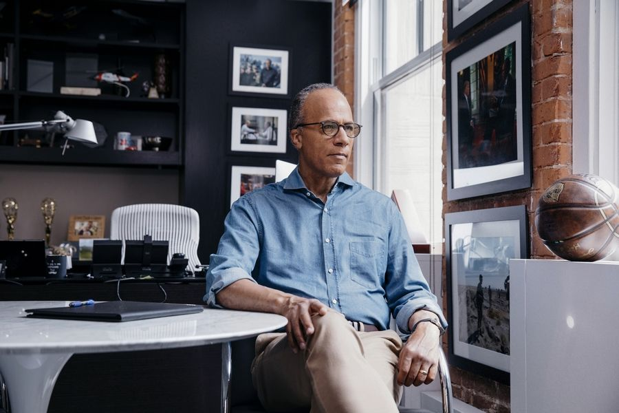 "Lester Holt, a journalist and news anchor for NBC's ""Nightly News"" and ""Dateline,"" at his office."