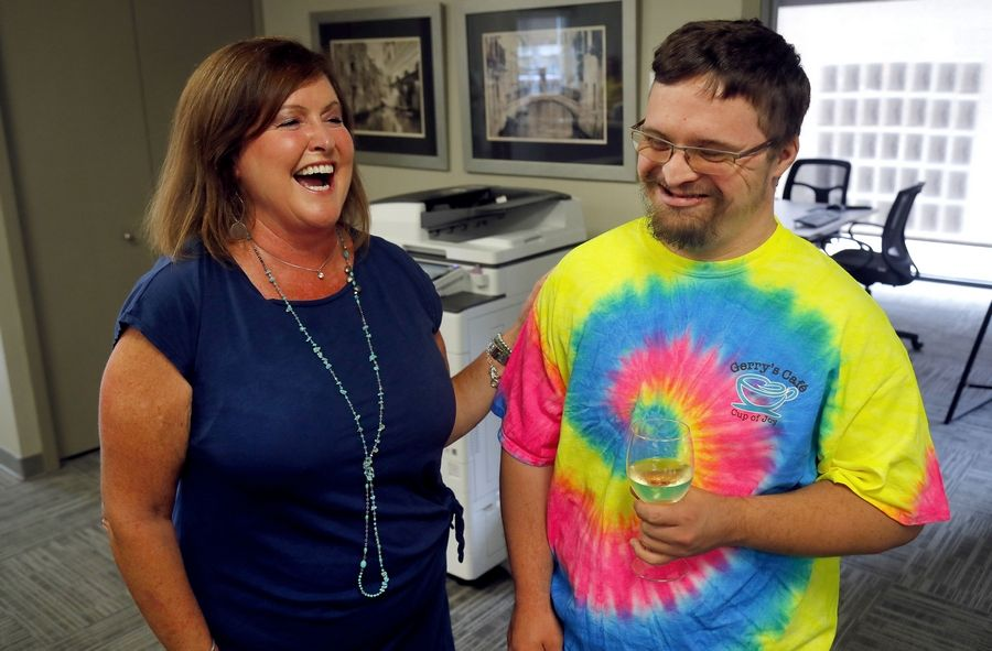 They met when Garrett Anderson was in preschool and Natalie Griffin, left, was his special education teacher. Now Anderson, 30, is an ambassador for Griffin's latest venture: Gerry's Café, an Arlington Heights eatery that will employ adults with developmental disabilities.