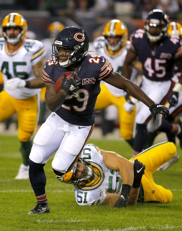 Chicago Bears running back Tarik Cohen had none of the team's limited 15 rushing attempts in the season-opening loss to the Green Bay Packers.