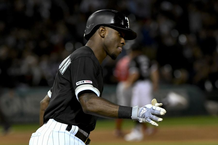 Chicago White Sox's Tim Anderson (7) rounds the bases after hitting a two-run home run off Los Angeles Angels' Dillon Peters during the fifth inning of a baseball game Friday, Sept. 6, 2019, in Chicago.