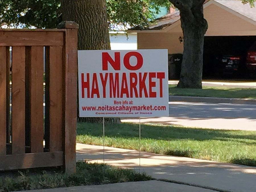 "More than 1,200 ""No Haymarket"" signs have appeared in yards around Itasca in response to Haymarket Center's proposal to open a drug and alcohol treatment center at what is now a hotel."