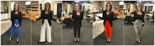 "This combination of photos provided by Maggie Vespa shows Vespa, a weekend news anchor and TV reporter at NBC affiliate KGW-TV in Portland, Oregon, wearing a variety of high-waisted pants she wore for five separate news casts over the weekend. Vespa wore the pants after a male viewer told her to ""dress like a normal woman� in a message sent to her Facebook work account. She wanted to draw attention to the pressure that women who work in the public eye face on a daily basis. (Maggie Vespa via AP)"