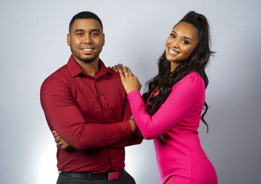 "This July 23, 2019 photo shows Pedro Jimeno, left, and Chantel Everett posing for a portrait to promote their show, ""90 Day Fiance"" in Los Angeles. (Photo by Willy Sanjuan/Invision/AP)"