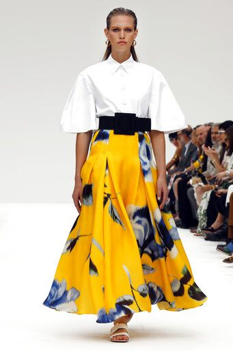 The Carolina Herrera collection is modeled during Fashion Week, in New York, Monday, Sept. 9, 2019.