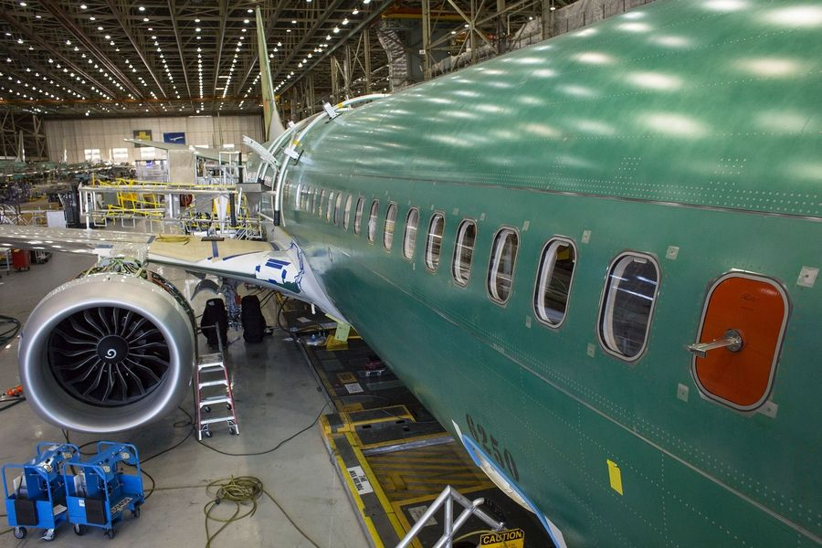 A Boeing 737 MAX 9 jetliner sits on the production floor at the company's manufacturing facility in Renton, Wash., on Feb. 13, 2017.