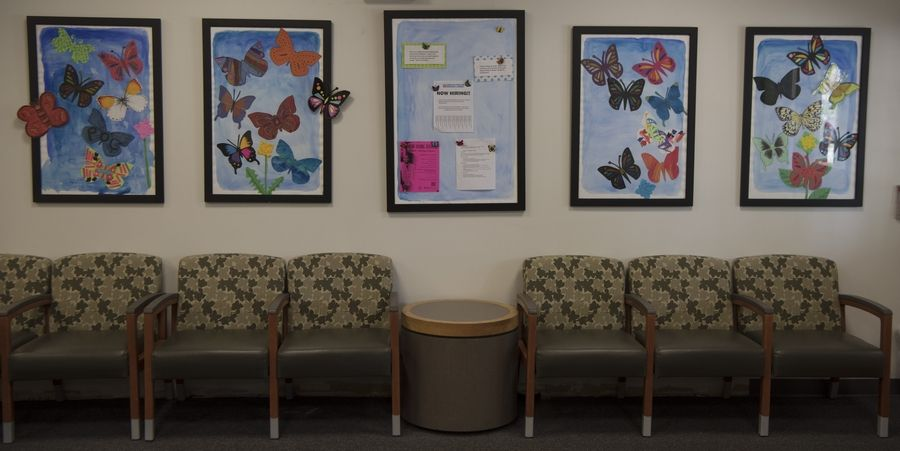 Inspirational artwork and messages fill the newly-decorated lobby of the Community Resource Center in Palatine.