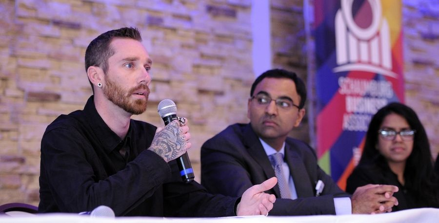Brad Gerke, left, director of operations for Banyan Treatment Center in Naperville, discusses the opioid epidemic Tuesday during a panel discussion hosted by the Schaumburg Business Association. With him are Dr. Vivek Mohan, center, an orthopedic surgeon in Hoffman Estates, and Dr. Mona Patel.