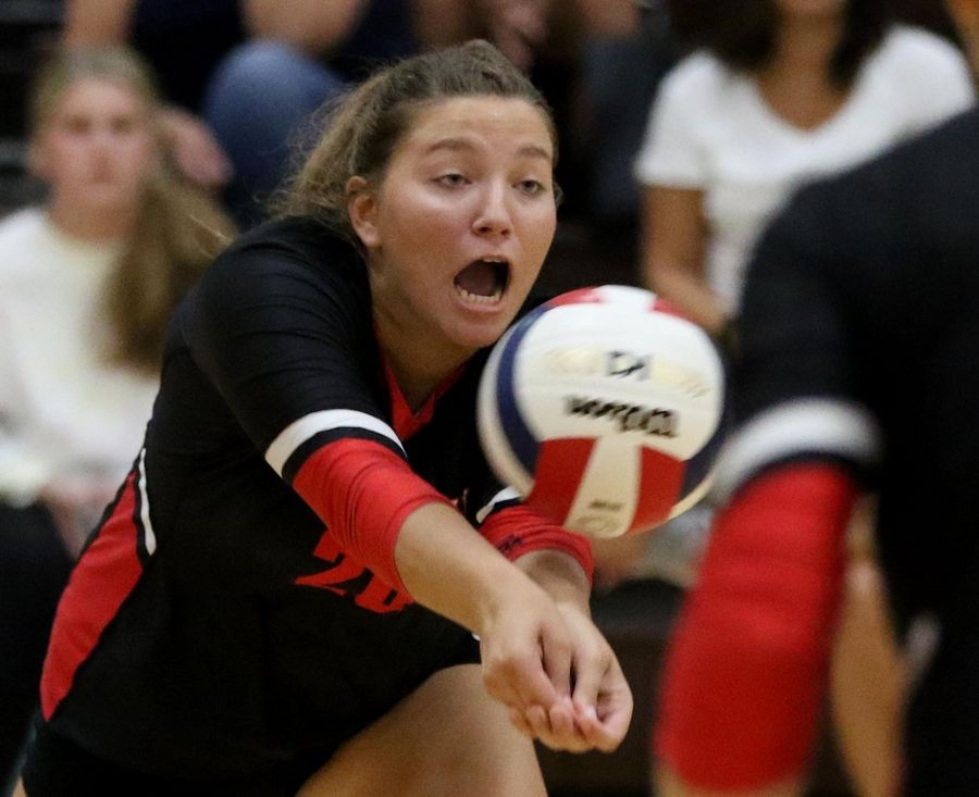 Huntley's Ashley Konecki passes the ball against Jacobs in varsity girls volleyball Tuesday at Algonquin.