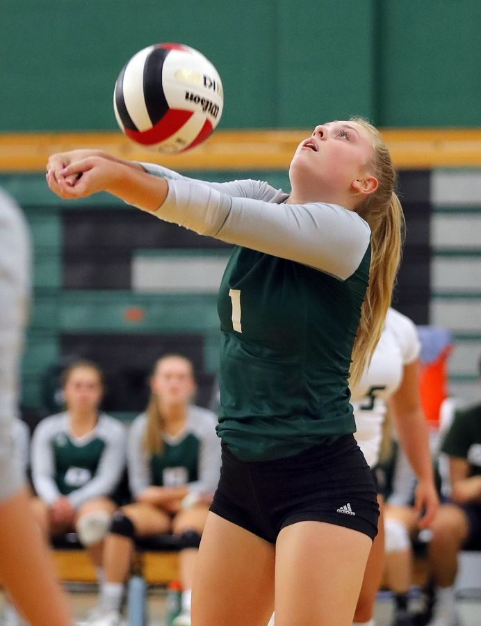 Grayslake Central's Cailin Hawn volleys during the Rams' match against Waukegan Tuesday at Grayslake Central High School.