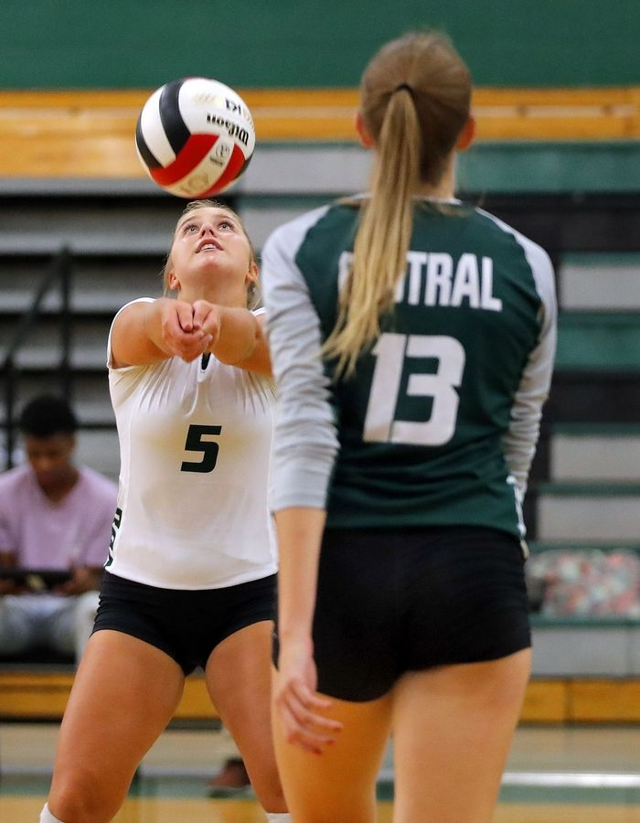 Grayslake Central's Taylor Ford volleys during action against Waukegan Tuesday at Grayslake Central High School.