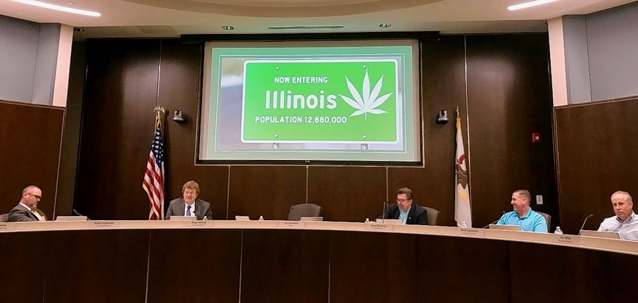 This was the opening slide for the Palatine village council's discussion on recreational marijuana sales Monday night.