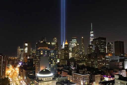 The Tribute in Light rises above the lower Manhattan skyline, Tuesday, Sept. 10, 2019 in New York. Wednesday marks the 18th anniversary of the terror attacks against the United States of Sept. 11, 2001.