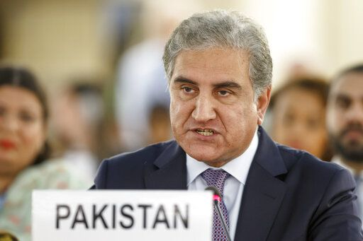 Pakistan's Foreign Minister Shah Mehmood Qureshi makes a statement during the 42nd session of the Human Rights Council at the European headquarters of the United Nations in Geneva, Switzerland, Tuesday, Sept. 10, 2019. (Salvatore Di Nolfi/Keystone via AP)