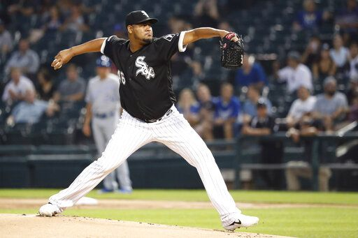 Chicago White Sox starting pitcher Ivan Nova delivers during the first inning of a baseball game against the Kansas City Royals Tuesday, Sept. 10, 2019, in Chicago.