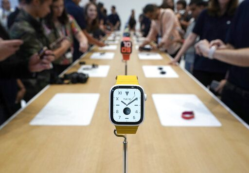 The new iWatch 5 was on display for the event attendees during an event announcement of the new Apple products Tuesday, Sept. 10, 2019, in Cupertino, Calif.