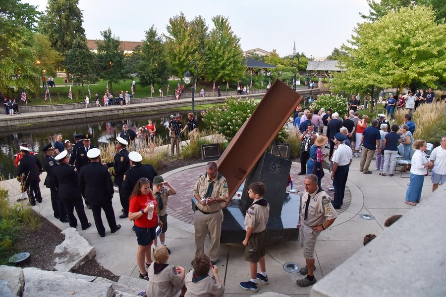 "A bench at the Cmdr. Dan Shanower/Sept. 11 Memorial in Naperville reminds visitors of the late Shanower's saying, ""Freedom isn't free."" Shanower, a Naval intelligence worker at the Pentagon, died in the Sept. 11 terrorist attacks."