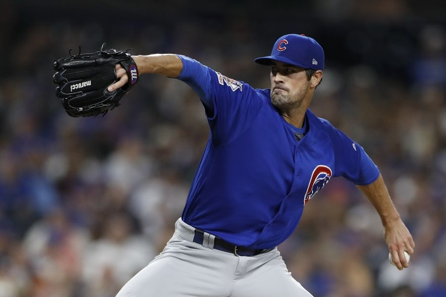 Chicago Cubs starting pitcher Cole Hamels works against a San Diego Padres batter during the fourth inning of a baseball game Wednesday, Sept. 11, 2019, in San Diego.
