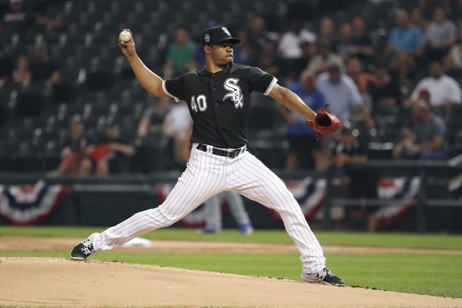 Chicago White Sox starting pitcher Reynaldo Lopez delivers during the first inning of a baseball game against the Kansas City Royals Wednesday, Sept. 11, 2019, in Chicago.