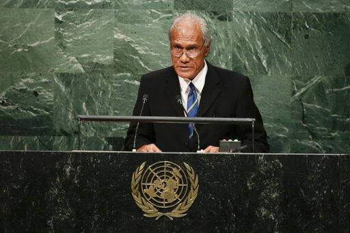 FILE - In this Sept. 26, 2015, file photo, Tongan Prime Minister 'Akilisi Pohiva addresses the 2015 Sustainable Development Summit at the United Nations headquarters in New York. Pohiva, who is credited with helping bring democracy to the small Pacific island nation, has died at the Auckland City Hospital on Thursday, Sept. 12, 2019. He was 78.