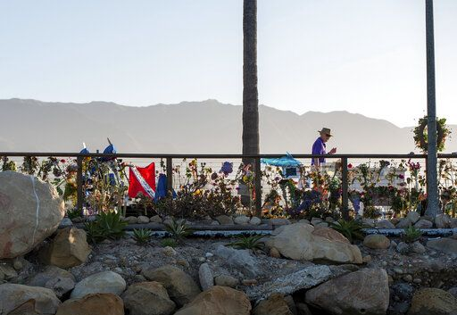 A memorial for the victims of the Conception is seen on the Santa Barbara Harbor in Santa Barbara, Calif., Sunday, Sept. 8, 2019. Authorities served search warrants Sunday at the Southern California company that owned the scuba diving boat that caught fire and killed 34 people last week.