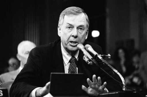 FILE - In this Dec. 20, 1984, file photo, T. Boone Pickens, of Mesa Petroleum, speaks at the Helmsley Palace Hotel in New York. Pickens, who amassed a fortune as an oil tycoon and corporate raider and gave much of it away as a philanthropist, has died. He was 91. Spokesman Jay Rosser confirmed Pickens' death Wednesday, Sept. 11, 2019.