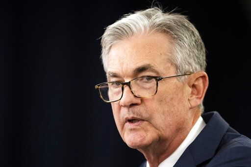 "FILE - In this July 31, 2019, file photo Federal Reserve Chairman Jerome Powell speaks during a news conference following a two-day Federal Open Market Committee meeting in Washington. Federal Reserve Chairman Jerome Powell said Friday, Sept. 6, 2019 that the Fed is not expecting a U.S. or global recession. But it is monitoring a number of uncertainties, including trade conflicts, and will ""act as appropriate to sustain the expansion."""