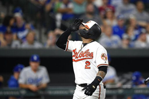 Baltimore Orioles' Jonathan Villar celebrates his three-run home run during the seventh inning of the team's baseball game against the Los Angeles Dodgers, Wednesday, Sept. 11, 2019, in Baltimore. Villar connected for the 6,106th homer in the majors this season. That topped the mark of 6,105 set in 2017. The Orioles won 7-3.