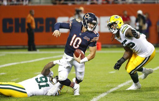 Green Bay Packers' Preston Smith sacks Chicago Bears' Mitchell Trubisky during the second half of an NFL football game Thursday, Sept. 5, 2019, in Chicago. The Packers won 10-3.
