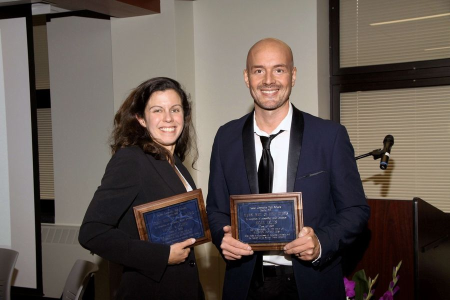 Laura Porro and Brian Fruits, 2018 Wall of Fame inductees, were honored during homecoming weekend last September.