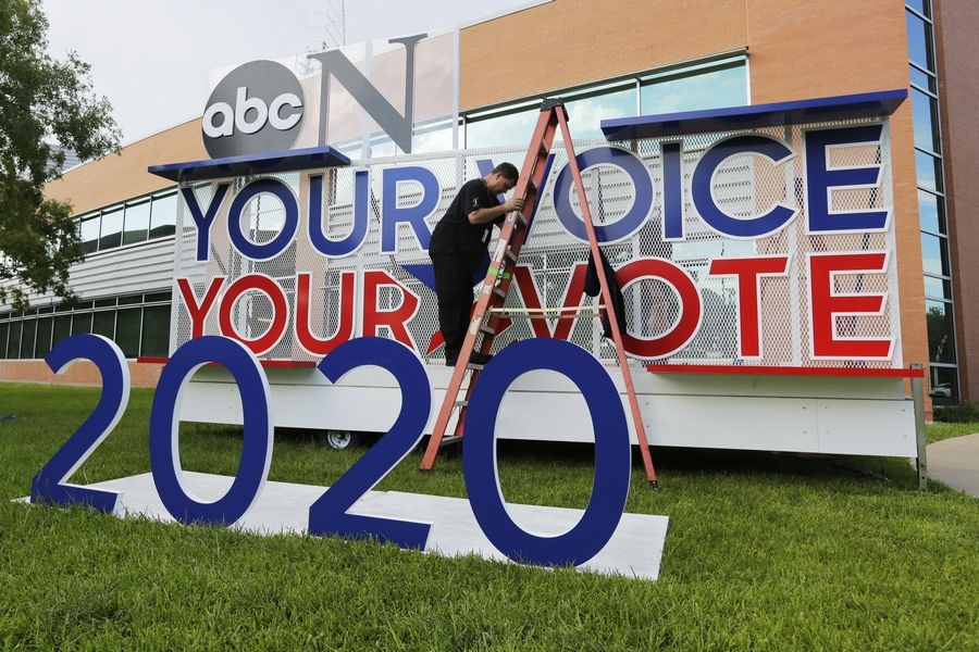 Signage is erected Wednesday for the upcoming Democratic presidential primary debates hosted by ABC on the campus of Texas Southern University in Houston.