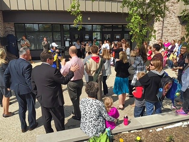 This ceremony marked a new Little Free Library at Thomas Jefferson Elementary School in Hoffman Estates in 2016. An architecture firm will look at potential building changes needed to convert Jefferson Elementary into a junior high school or middle school.