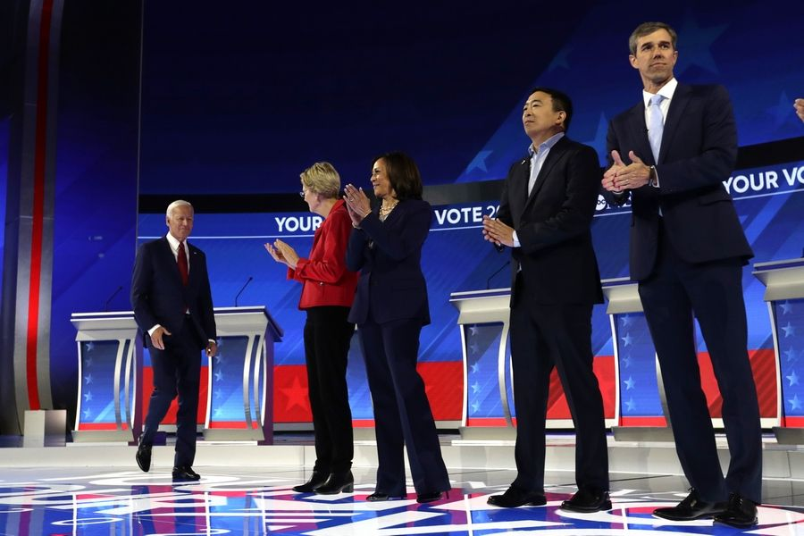 From left, former Vice President Joe Biden, Sen. Elizabeth Warren, a Massachusetts Democrat, Sen. Kamala Harris, a California Democrat, entrepreneur Andrew Yang, and former Texas Rep. Beto O'Rourke are introduced Thursday for the Democratic presidential primary debate hosted by ABC on the campus of Texas Southern University in Houston.