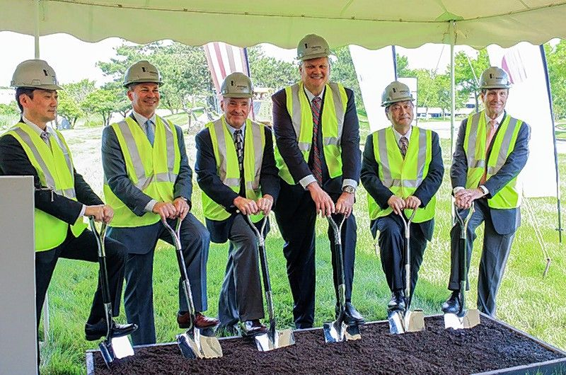 From left, Alex Ono, Yamazen; Jeff Krusinski, Krusinski Construction Co.; Elk Grove Village Mayor Craig Johnson; James Hansen, Yamazen; Jun Toyota, Yamazen; and Scott Fernandez, Yamazen, participate in groundbreaking ceremonies for Yamazen's new headquarters.