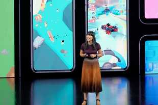 Apple's Ann Thai, manager for the app store announces new products Tuesday, Sept. 10, 2019, in Cupertino, Calif.