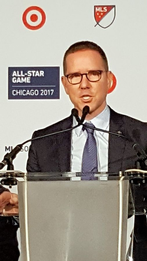 Orrin Schwarz/oschwarz@dailyherald.comChicago Fire owner Andrew Hauptman speaks at the news conference announcing that Soldier Field will be the site of the 2017 MLS All-Star Game.