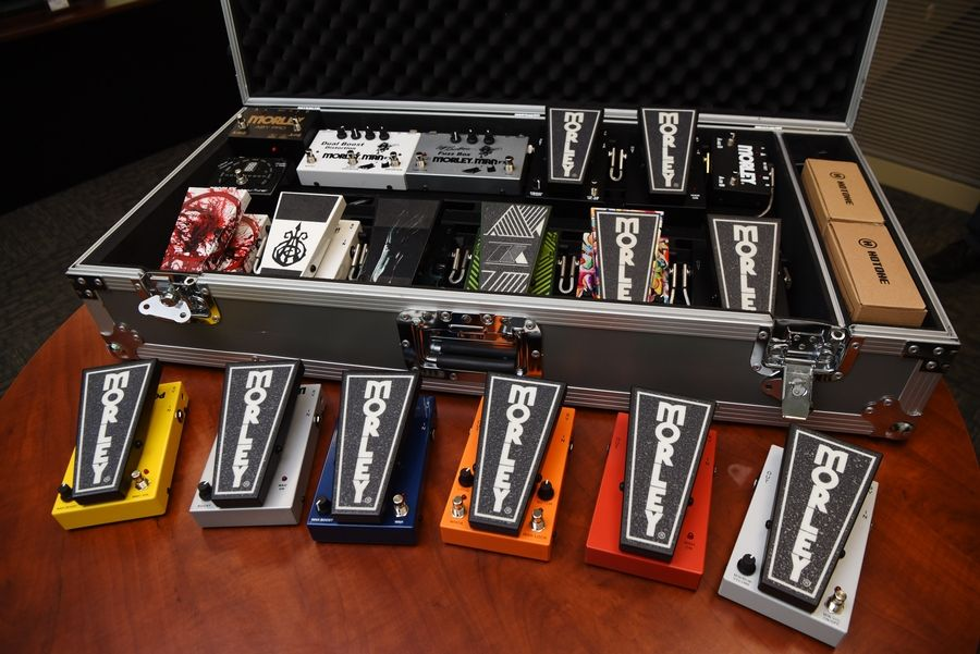Joe Lewnard/jlewnard@dailyherald.comMorley guitar effects pedals on display at the Glendale Heights facility.