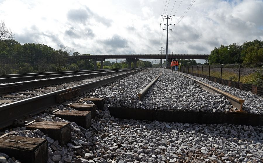 Metra's new Fox River railway bridge in Elgin is halfway finished with a second track set for completion in fall 2020.